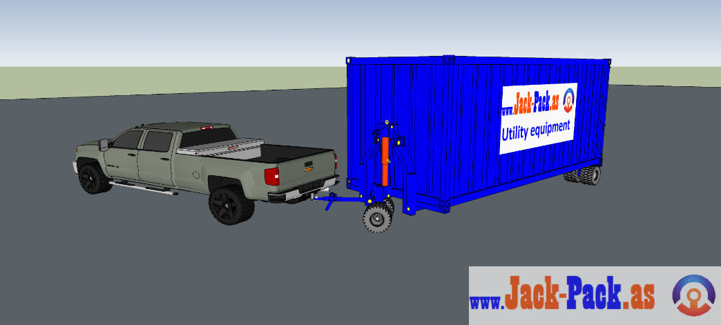 Pickup with shipping container in turn position
